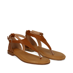 Sandali infradito cuoio in eco-pelle, Primadonna, 134958215EPCUOI035, 002a