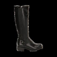 Stivali flat neri, tacco 4 cm , Primadonna, 160621682EPNERO036, 001a