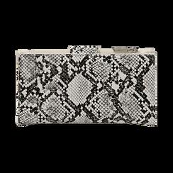 Portafogli bianco/nero stampa pitone, Borse, 155122158PTBINEUNI, 004 preview