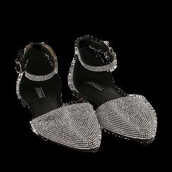 Bailarinas con brillantes de microfibra en color negro, Zapatos, 154968041MPNERO036, 002a