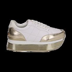 Sneakers bianche in eco-pelle con platform oro, Scarpe, 130751703EPBIOR037, 001 preview