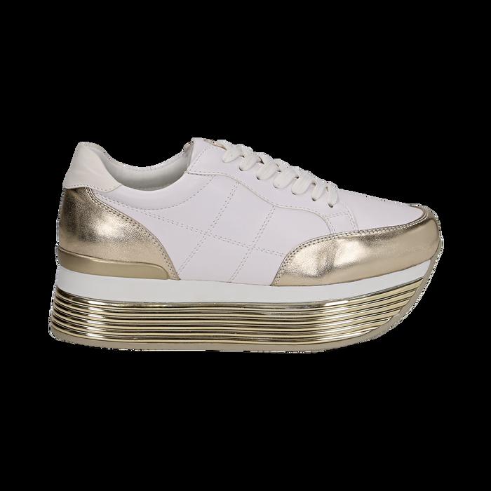 Sneakers bianche in eco-pelle con platform oro, Scarpe, 130751703EPBIOR037