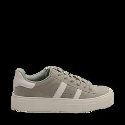 Sneakers grigie in microfibra stile vintage Seventies, Scarpe, 130101157MFGRIG035, 001a