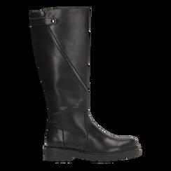 Stivali neri flat con suola carrarmato, tacco basso, Scarpe, 120618155EPNERO036, 001a