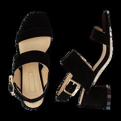 Sandali neri in microfibra con doppia fascia, tacco 7 cm , Sandali con tacco, 132182481MFNERO036, 003 preview