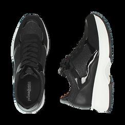 Sneakers nere glitter, zeppa 5 cm , Primadonna, 162800482GLNERO035, 003 preview