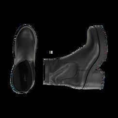 Biker boots neri in eco-pelle, tacco 7 cm , Stivaletti, 142828200EPNERO, 003 preview