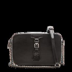 Camera bag nera con tracolla, ecopelle, Saldi, 121818008EPNEROUNI, 001a