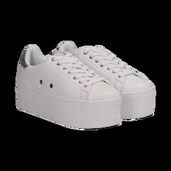 Sneakers bianche in eco-pelle dettaglio argento e suola platform, Scarpe, 132602020EPBIAR036, 002 preview