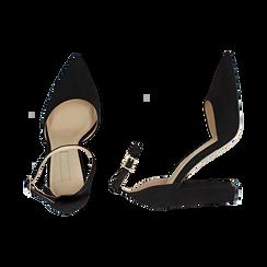Décolleté microfibra en color negro con tira , tacón 10,50 cm , Zapatos, 152123411MFNERO040, 003 preview