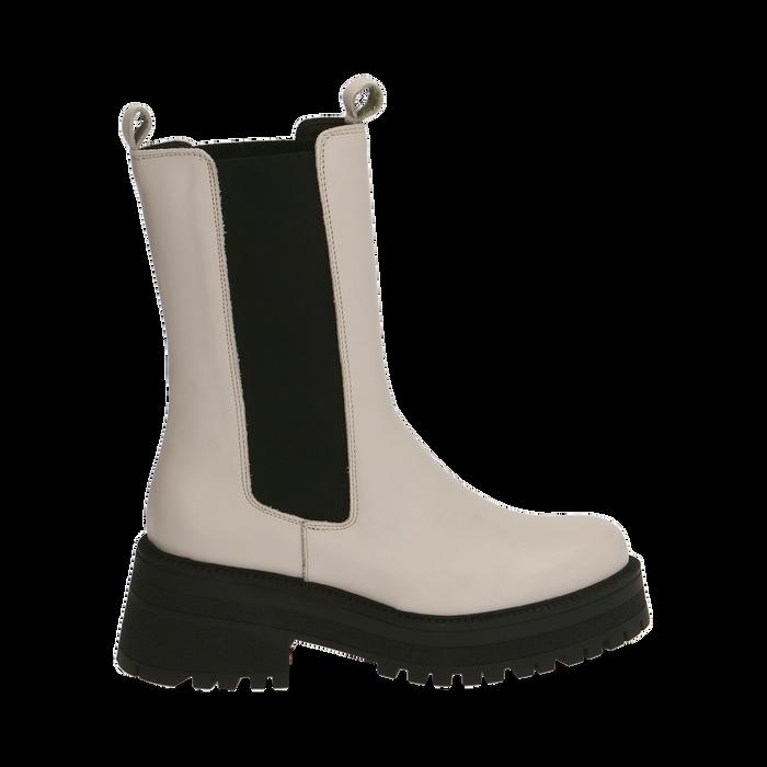 Chelsea boots bianchi in pelle di vitello , Primadonna, 168915835VIPANN035