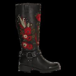 Stivali neri con ricami folk, tacco 3,5 cm, Primadonna, 122808626EPNERO035, 001a