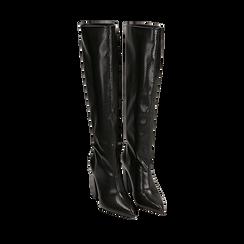 Stivali neri in eco-pelle stampa pitone, tacco 9,5 cm , Stivali, 142166710PTNERO035, 002a