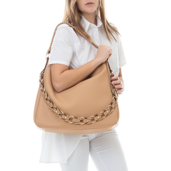 Maxi bag cuoio in eco-pelle con tracolla decor, Borse, 133881161EPCUOIUNI, 002 preview