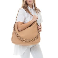 Maxi bag cuoio in eco-pelle con tracolla decor, Borse, 133881161EPCUOIUNI, 002a