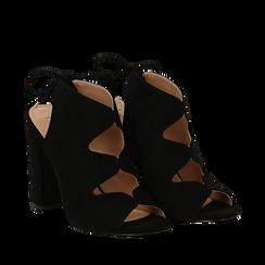 Sandali neri in microfibra con allacciatura alla caviglia, tacco 10,5 cm, Scarpe, 132760824MFNERO035, 002a