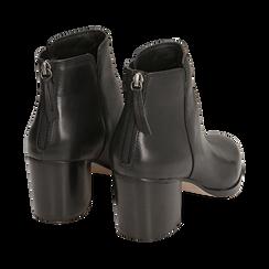 Ankle boots neri in pelle di vitello, tacco 6,50 cm, Primadonna, 15J492410VINERO035, 004 preview