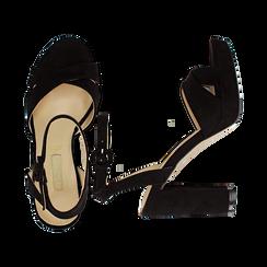 Sandali neri in microfibra con fasce incrociate, tacco a colonna 10,5 cm, Sandali con tacco, 132118585MFNERO035, 003 preview