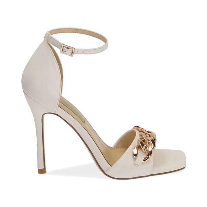 Sandali bianchi con catena, tacco 10,5 cm , Primadonna, 172114211EPBIAN036