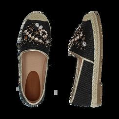 Espadrillas nere in rafia con pietre, Chaussures, 154902098RFNERO, 003 preview