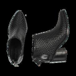 Ankle boots neri in pelle intrecciata, tacco 6,50 cm, Primadonna, 15J492506PINERO036, 003 preview
