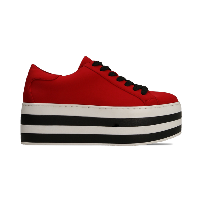 Sneakers rosse con suola platform a righe 6 cm, Primadonna, 12A777615LYROSS