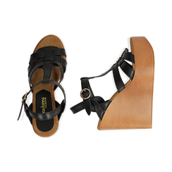 Sandali platform multilistino neri in eco-pelle, zeppa 12 cm , Saldi Estivi, 132147348EPNERO035, 003 preview