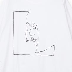 T-shirt bianca in tessuto con stampa nera minimal , Abbigliamento, 13I730071TSBIANL, 002 preview