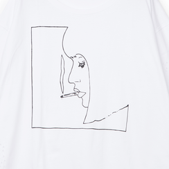 T-shirt bianca in tessuto con stampa nera minimal , Abbigliamento, 13I730071TSBIANL, 002a