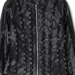 Giacca nera in eco-pelle e rete con lavorazione 3D, Primadonna, 136501080EPNERO, 002 preview