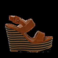 Sandali platform cuoio in eco-pelle, zeppa rigata 13 cm , Primadonna, 134986213EPCUOI035, 001a
