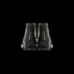 Anfibi neri in vera pelle, con gambale basso, tacco basso, Scarpe, 127717704PENERO, 003 preview