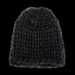 Berretto invernale nero in tessuto filato XL, Saldi Abbigliamento, 12B444008TSNEROXXL, 001 preview
