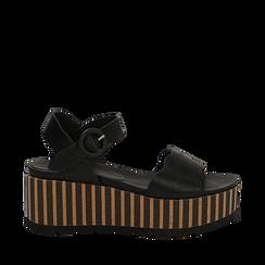 Sandali platform neri in eco-pelle, zeppa optical 7,50 cm , Primadonna, 134901231EPNERO036, 001a