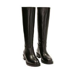 Stivali neri in pelle, tacco 4 cm , Primadonna, 18A500502PENERO035, 002a