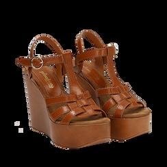 Sandali platform multilistino cuoio in eco-pelle, zeppa 12 cm , Primadonna, 132147348EPCUOI035, 002a