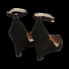 Décolleté en microfibra color negro, cuña 8,5 cm , Zapatos, 152151841MFNERO038, 004 preview
