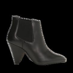 Chelsea Boots neri in vera pelle, tacco a cono 9 cm, Primadonna, 12D613910VINERO036, 001a
