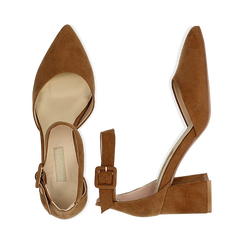 Décolleté marrone in microfibra con cinturino alla caviglia, tacco a blocco 6,5 cm, Scarpe, 132182395MFMARR037, 003 preview