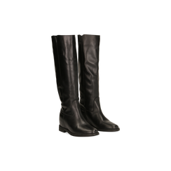 Stivali Neri in vera pelle, con zeppa interna e tacco 2,5 cm, 129000066VINERO036, 002