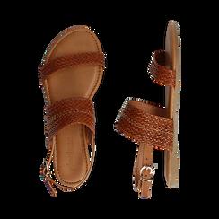 Sandali flat cuoio in eco-pelle intrecciata, Primadonna, 133600111EICUOI036, 003 preview