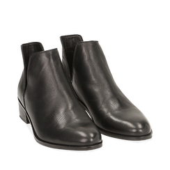 Botines en piel color negro, tacón 3 cm, 159407601PENERO035, 002a