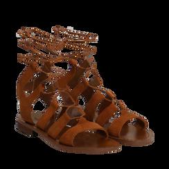 Sandali gladiator cuoio in camoscio, Scarpe, 138100348CMCUOI035, 002a