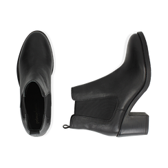 Ankle boots neri in pelle, tacco 4,50 cm, Primadonna, 169495750PENERO035, 003 preview