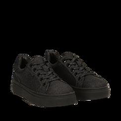Sneakers nere glitter, suola 4 cm , Scarpe, 142509512GLNERO036, 002a
