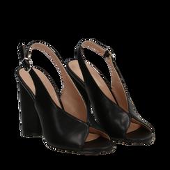 Slingback nere open-toe in eco-pelle, tacco 10 cm, Primadonna, 132708372EPNERO036, 002a