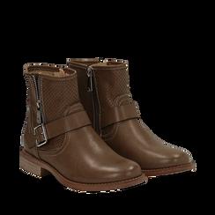 Biker boots taupe in eco-pelle con gambale traforato estensibile, tacco 3 cm, Stivaletti, 130619015EPTAUP037, 002a
