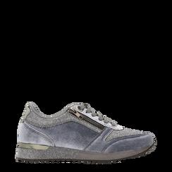 Sneakers grigie velluto e dettagli metal, Primadonna, 120127903VLGRIG035, 001a