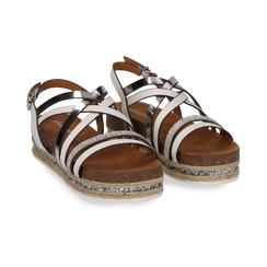 Sandali platform bianchi in eco-pelle, zeppa 4,50 cm , Primadonna, 111718503EPBIAN, 002 preview