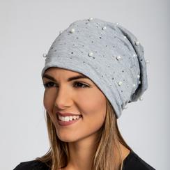 Berretto invernale grigio in tessuto con perle, Saldi Abbigliamento, 12B480739TSGRIG3XL, 003 preview
